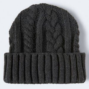 Aeropostale Gray Cable Knit Turnback Beanie Hat OS